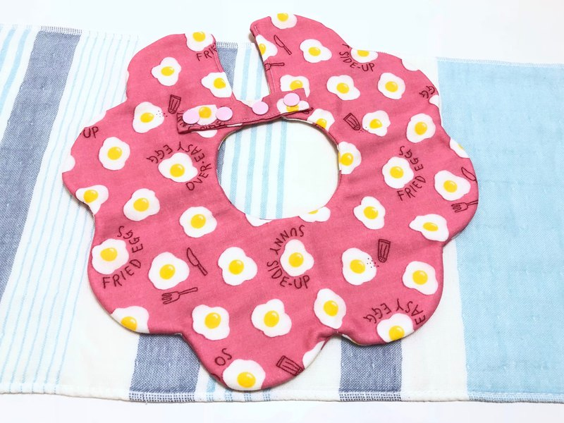 Poached egg (pink) / Japanese eight-layer yarn three-stage growth bib. Saliva towel - double-sided petal shape