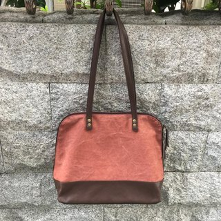 Sienna leather with canvas travel bag large