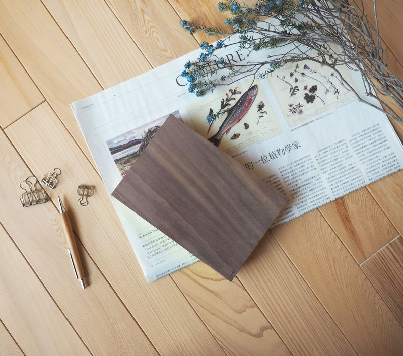 Notebook / walnut Solid wood book / yellow