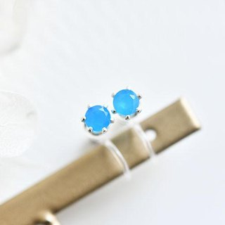 Health, longevity, wealth, success Neon Blue Agate Non Hole Pierce 4mm May Birthstone