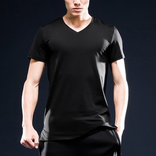 AquaTouch InstaDRY Men's 1/4 Sleeve Low Neck Slim Fit V-neck T-Shirt - Black