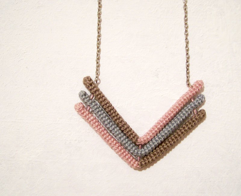 Arrow Necklace Chevron Pendant Brown Grey Rose Geometric Crochet Tube