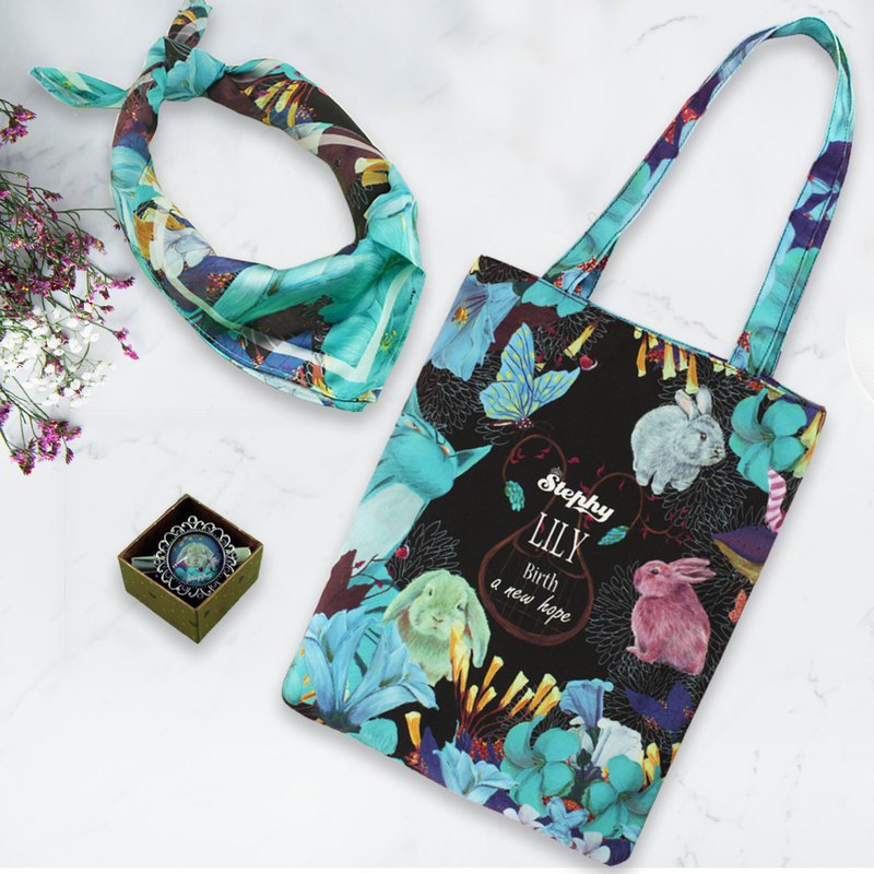 Goody Bag Stephy Forest Moth Rabbit Series Canvas Bag and Scarf Set Lucky Bag