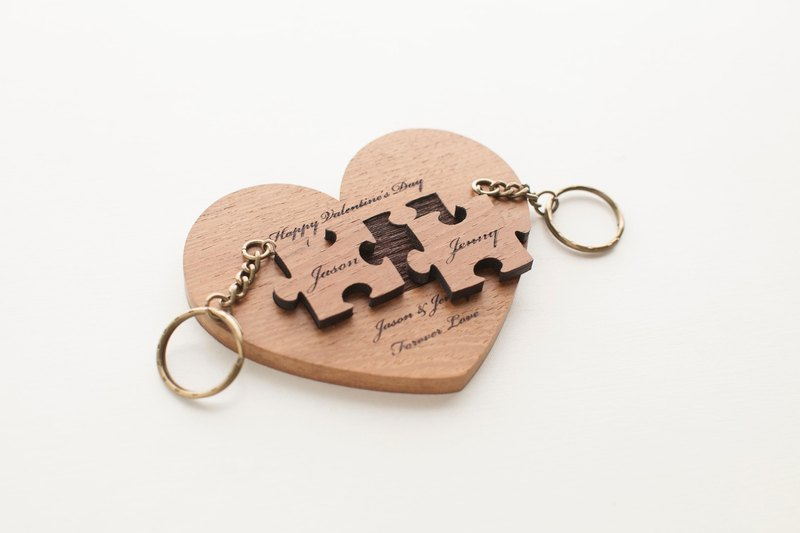 Customized Valentine's Day Gifts Wedding Gifts Teak Puzzle Key Rings - Love Base Double Piece - Flat