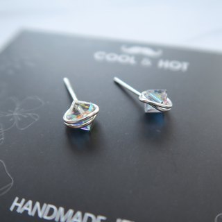 A pair of 925 sterling silver mini crystal faceted crystal earrings or ear clips
