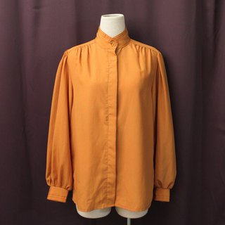 Vintage European Simple Orange Long Sleeve Vintage Shirt Vintage Blouse