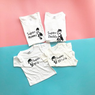 4 pieces into _ superman family, exquisite printing tide brand heavy short t parent-child loaded organic cotton bag fart