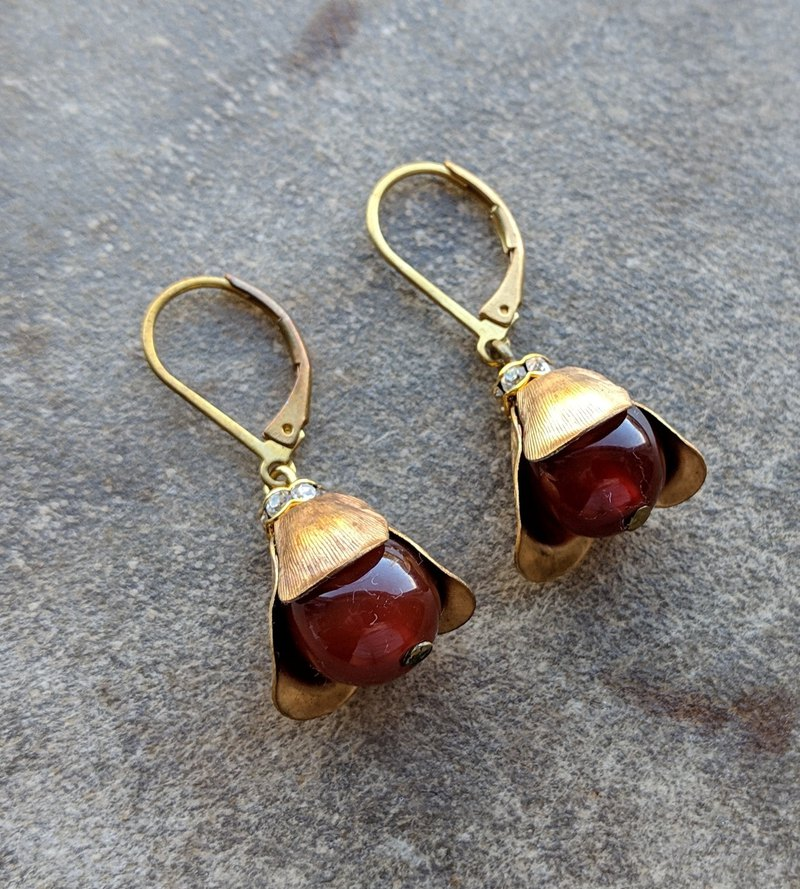 Brass Flower Cap Marble Earrings