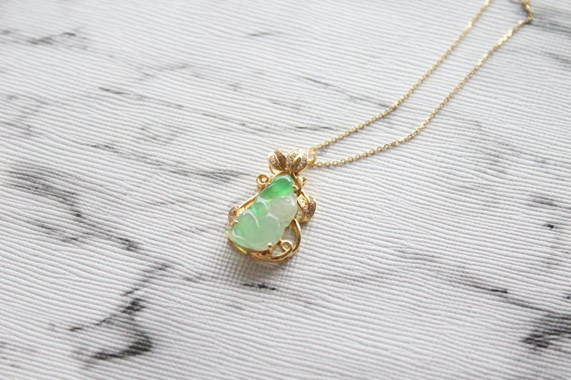 Journal-Ling Monkey Gao Bingyang Green Pure Natural A Goods Jade 18K Platinum Set with South African Natural Diamond Pendant