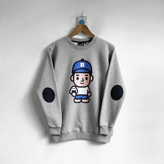 [BestFriend] ONIGIRI-BOY Long Sleeve Sweat / long-sleeved University T (gray)