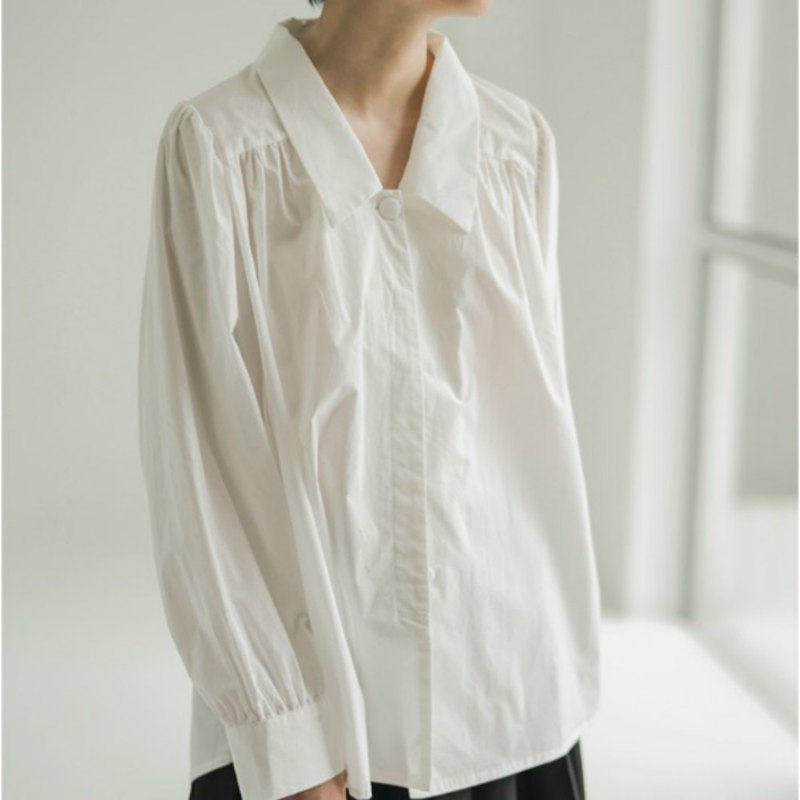 White brooklyn baby retro wrinkled shirt lazy behind pleated waisted court shirt top