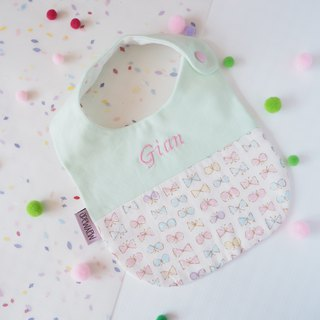 """Togetherness""Handmade Name Embroidery Baby Bib - Green with Bow Style"