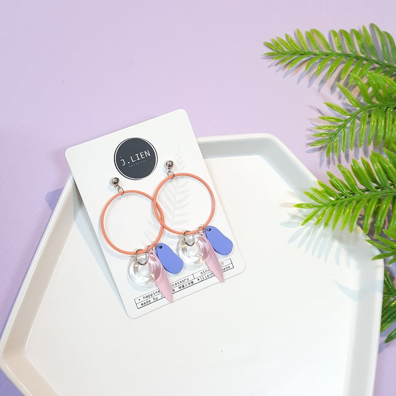 Transparent swimming ring series - Carnival ear pin / ear clip handmade earrings Korea direct