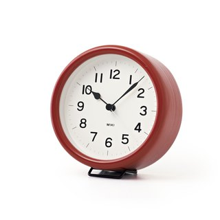 NY14-03 RE MIKI Wood Table Clock - Wine Red