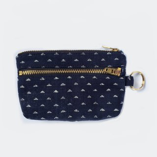 小钱包 Keychain Wallet, Double Zipper Purse, Japanese Indigo Triangle