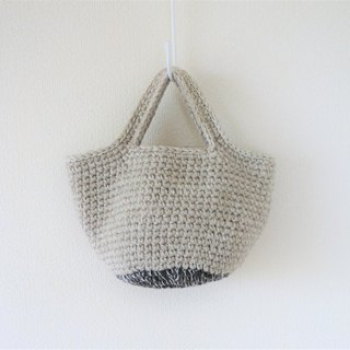 yuoworks / Wool tote bag / handbag / gray and light brown