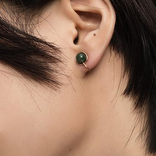 Aventurine ear clips / ear pins | classic dark green Dongling stone earrings
