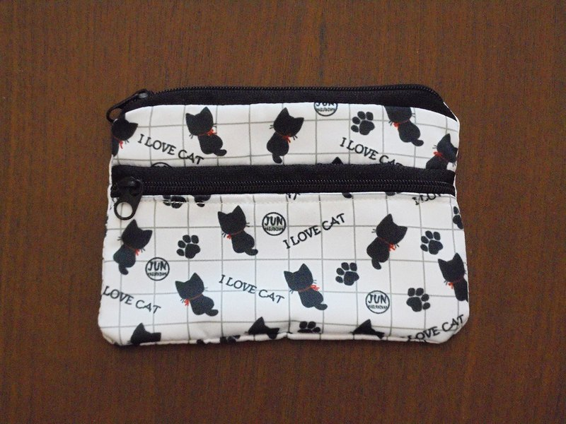 Double coin purse - white cat