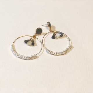 Bujielite- Crochet Gold Rounded Hoop Earring_with white thread and mini tassel