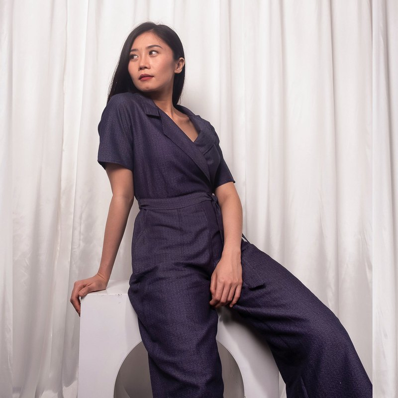 Nala Sleeve Jumpsuit - Navy