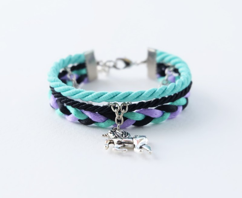 Unicorn wrap bracelet in matte mint / black / purple
