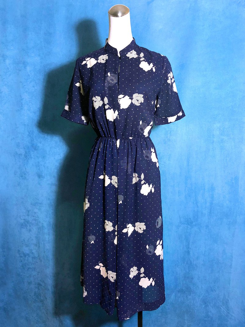 Little flower short-sleeved vintage dress / brought back to VINTAGE abroad
