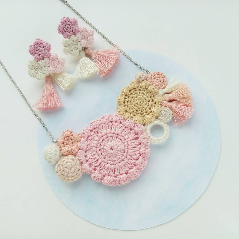 Pink Crochet Floral Necklace (not including earrings)