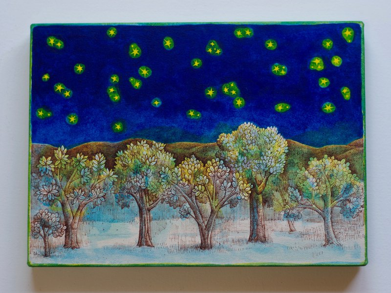 Trees and stars L /original painting/watercolor
