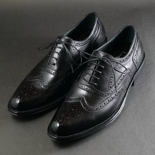 Elegant Wing Carved Tire Coat Oxford Shoes - Monarch Black