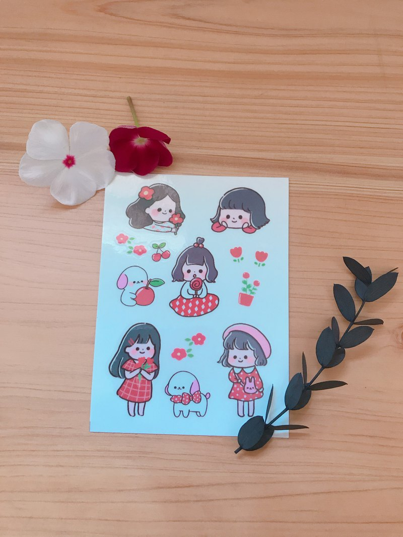 Transparent Die Sticker - Passionate Red Girl