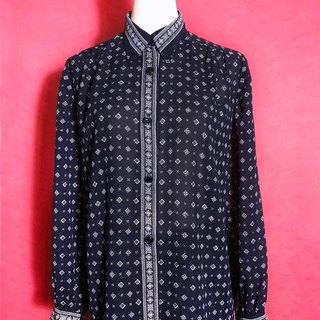 Narrow-neck totem dark blue long-sleeved vintage shirt / brought back to VINTAGE abroad