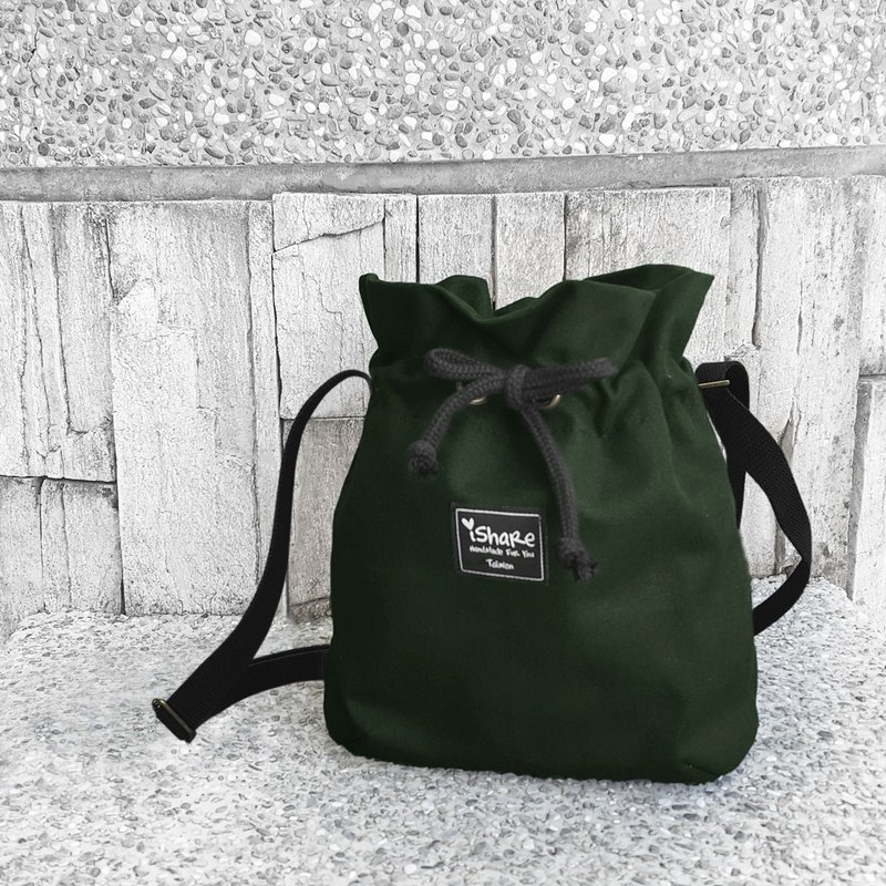 Very simple canvas bucket bag - black dark green portable bag / oblique bag / oblique bag / passport bag / bunched bag