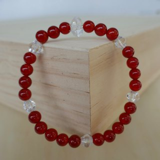 BR0378 - Natural Gemstone Bracelet - Design and Manufacture - Natural Red Agate and White Crystal