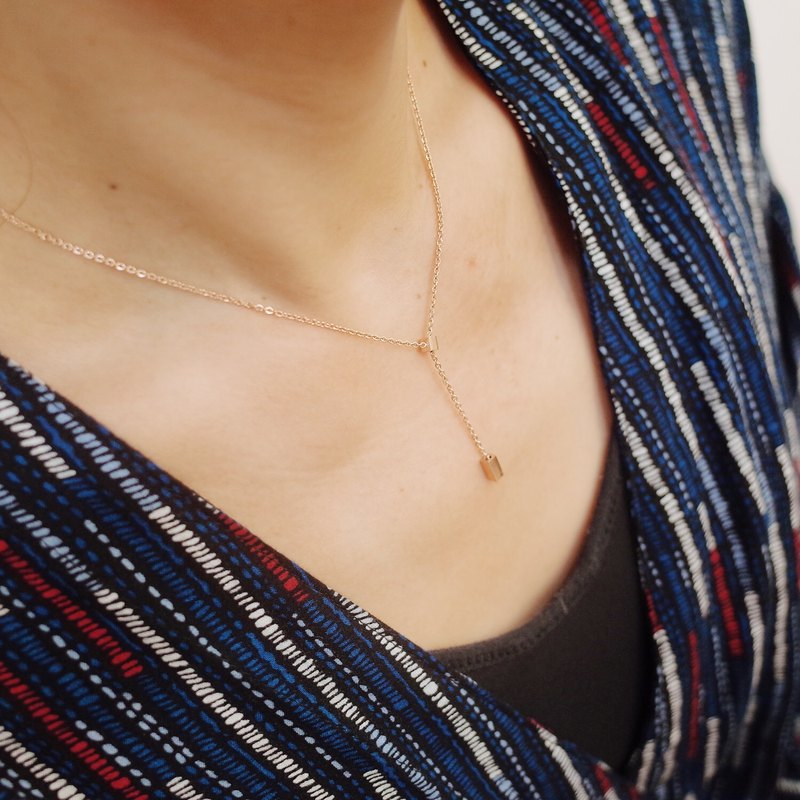 Small square column adjustment chain [titanium steel] rose gold / silver necklace [clavicle chain]