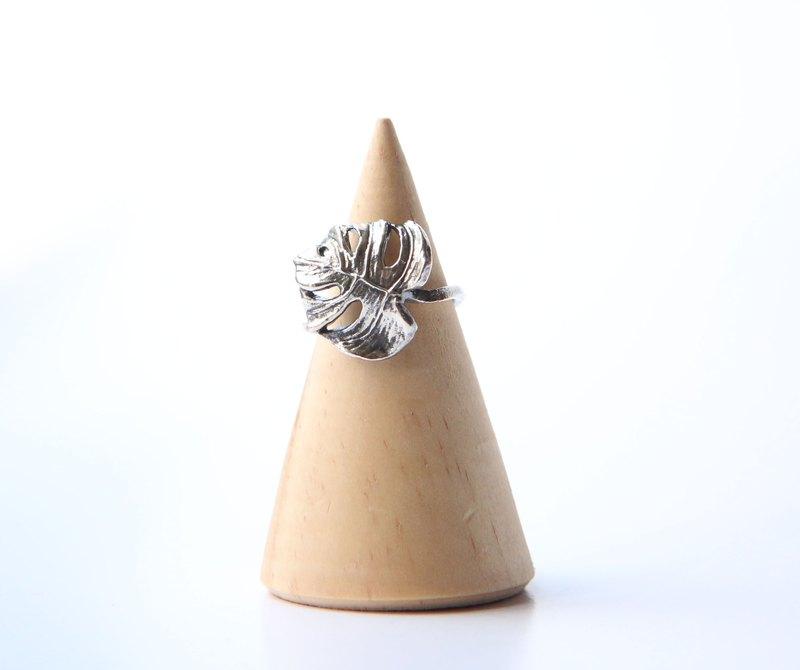 純銀文青風 龜背芋 電信蘭 龜背竹 葉子戒指