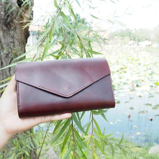 Leather back long clip envelope shape multifunctional coffee red