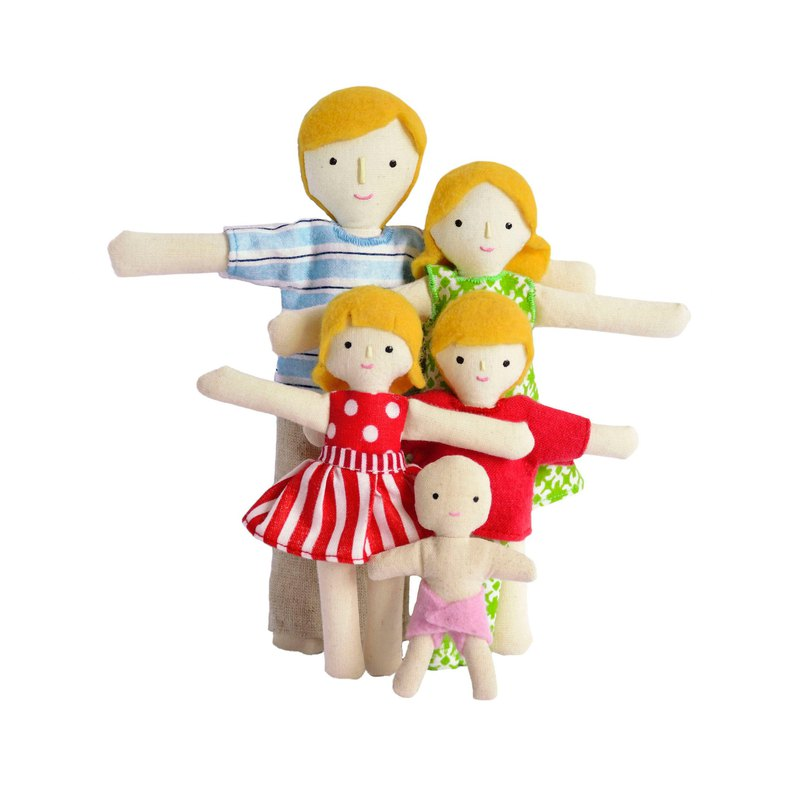 Blonde family of dolls - 雪人家庭 - Cotton toy - Therapy doll. Christmas gift