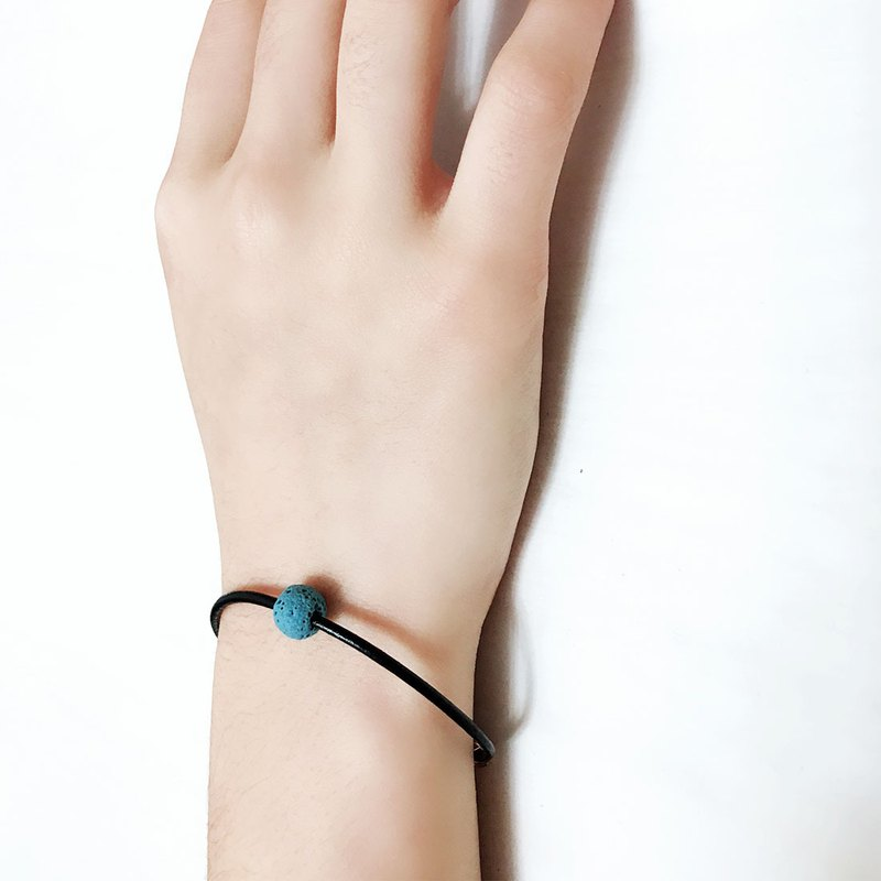 Charm Blue Lava Bead Diffuser Thin Black Leather Bracelet with Extend Chain