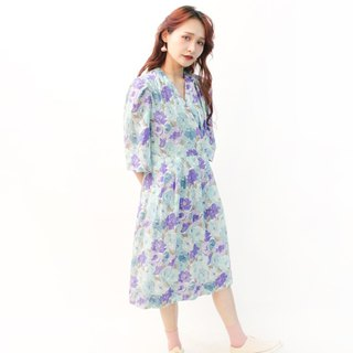 Vintage Japanese Sweet Romantic Aqua Blue Flowers Cotton Short Sleeve Vintage Dress Vintage Dress