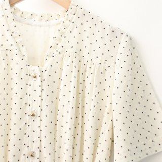 Vintage Sweet Romantic Simple Dot Milk White Short Sleeve Vintage Dress Vintage Dress