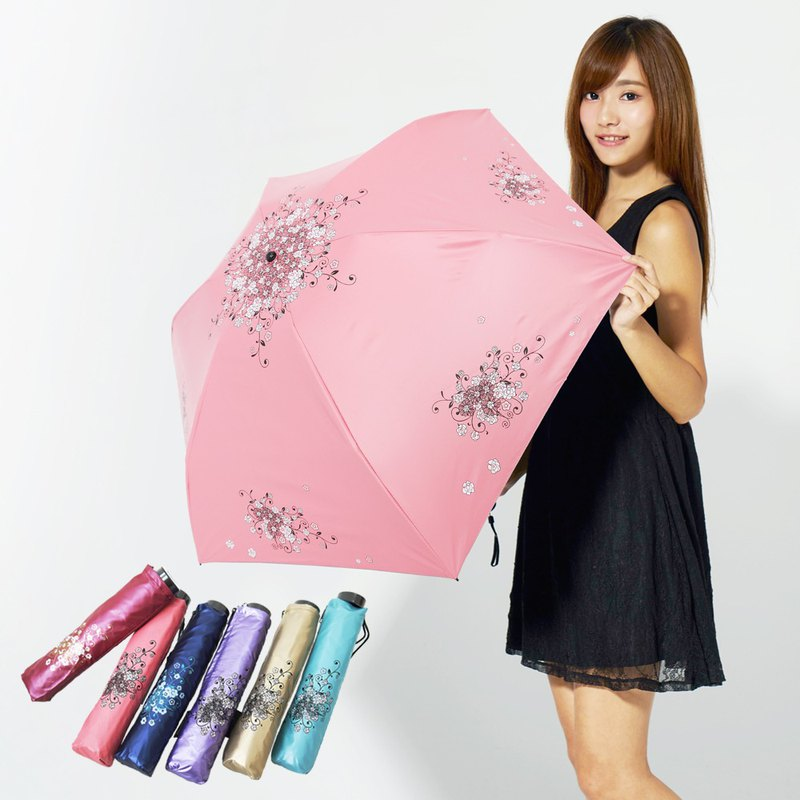 Ssangyong cools 14 degrees _ carbon fiber HANA ultra lightweight black plastic reverse folding umbrella