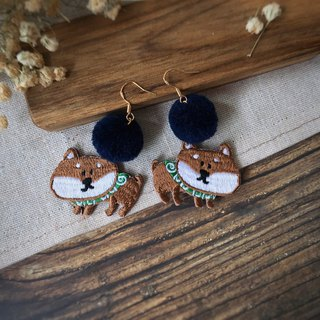 Littdlework Hand Embroidered Earrings | Shiba Inu Puffball <925 sliver>