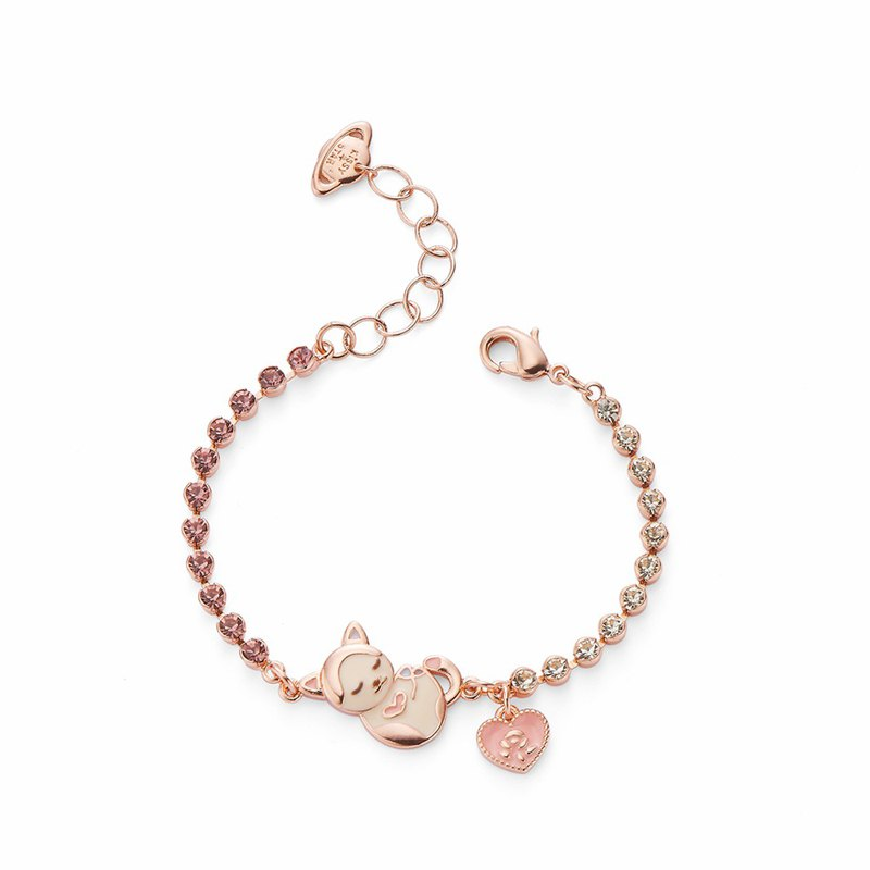 PY Double Color Diamond Cute Sleeping Puppy Love Bracelet 16K Rose Gold
