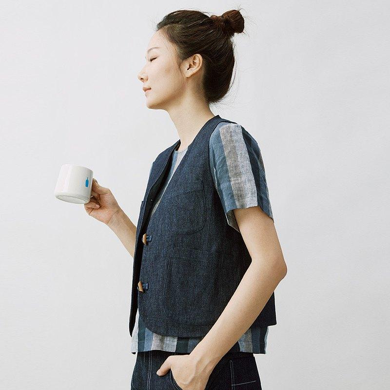 老機織布 中國風單寧工裝小馬甲 牛仔馬夾背心 CS200162