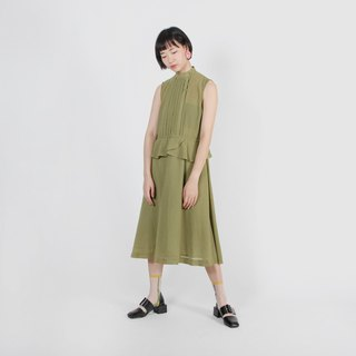 [Egg plant ancient] black rice matcha stand collar sleeveless vintage dress