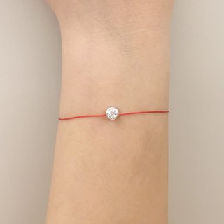 Sterling silver, silver and diamonds, single diamond, red line, bracelet, lucky grass, even if you accidentally turn over, you are lucky.