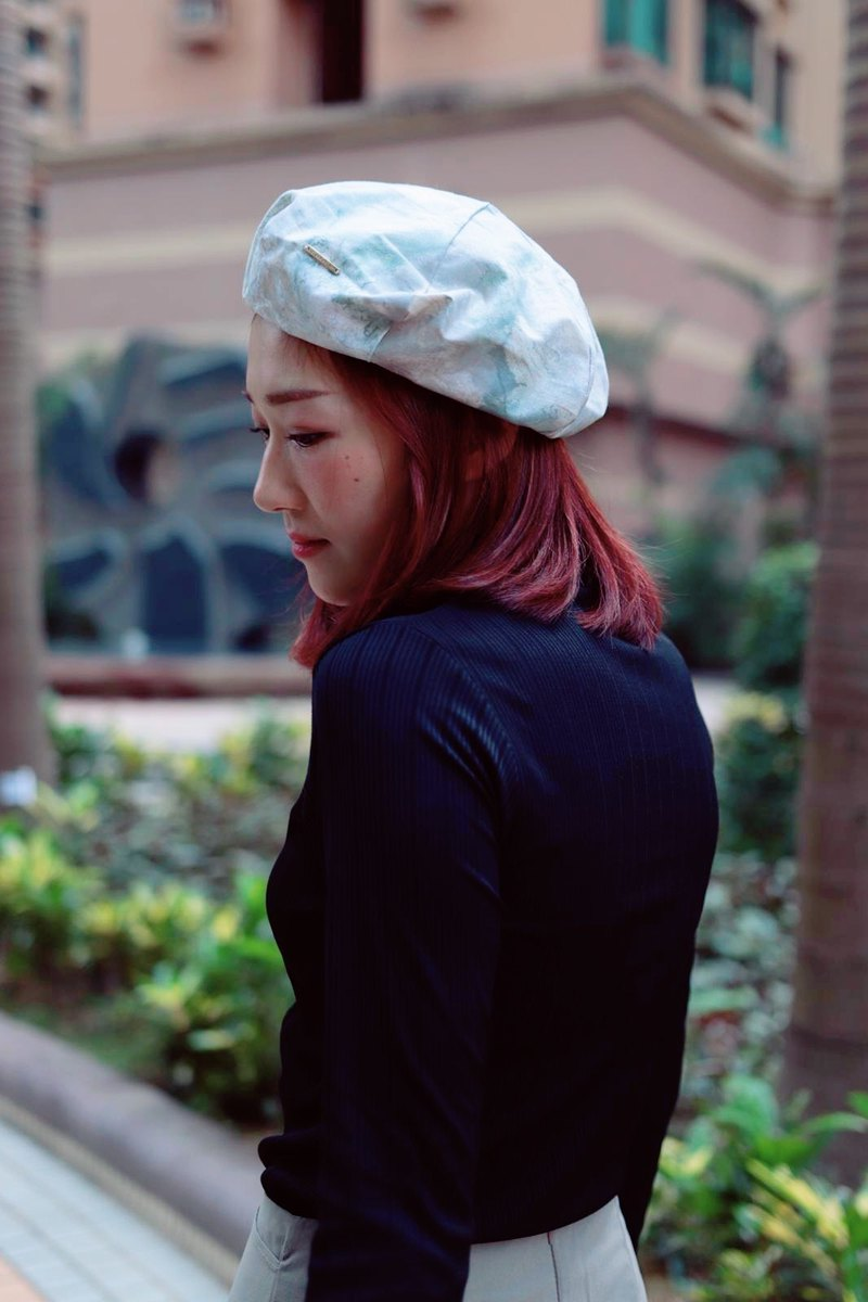 Beret beret | Painter hat | Six-sided cut | Color marble pattern British print
