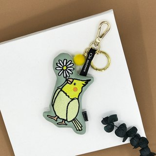 Champagne parrot embroidered pendant key ring phone wipe