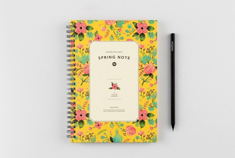 ARDIUM Spiral Notebook (in) - Yellow Garden