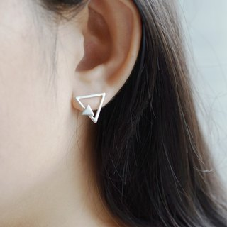 Nude - triangle double geometry (925 silver earrings) - C percent handmade